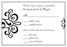 Classic Flourish In Modern Black RSVP Cards