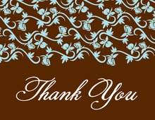 Teal Vines In Rich Chocolate Thank You Cards