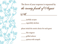 Detailed Teal Vines In Pure White RSVP Cards