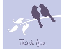 Playful Lilac Lovebirds Thank You Cards