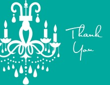 White Chandelier Rich Turquoise Thank You Cards