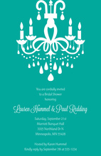 Modern Chandelier Turquoise Formal Party Invitations