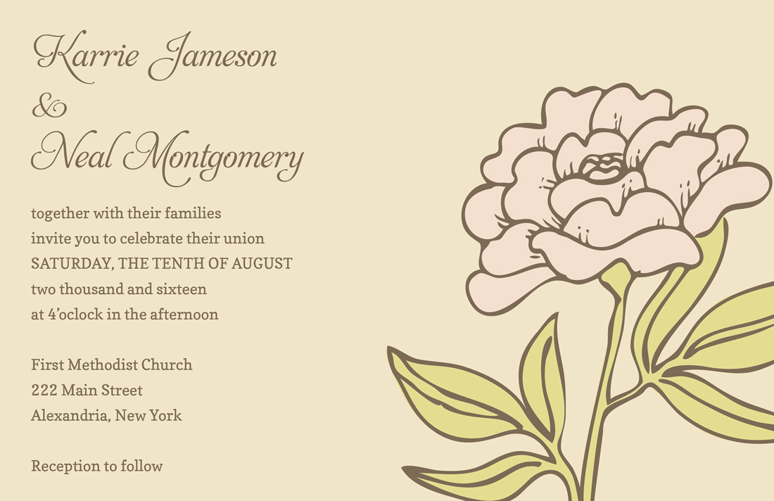 Vintage Carnation Cream Wedding Invitations