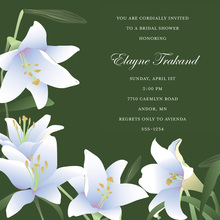 Modern Lilies Classy Forest Green Square Invitations
