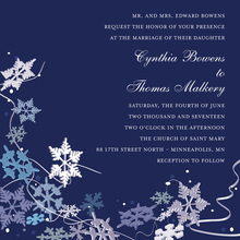 Blue Winter Snowflakes In Deep Navy Invitation