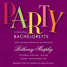 Purple Damask Quirky Bachelorette Party Invitations