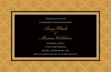Formal Gold Damask Frame Modern Party Invitations
