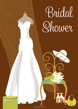 Bridal Dress Special Day Brown Bridal Invitations
