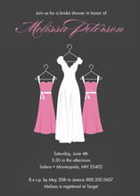 Hanging Pink Bridesmaids Charcoal Bridal Invitations