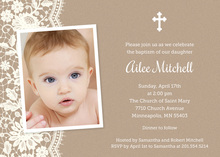 Precious Kraft Photo Baptism Invitations