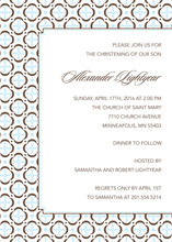 Cross Inspired Whimsical Blue Patterned Invitation