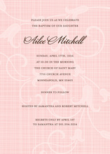 Trendy Rustic Pink Crosshatched Floral Invitation