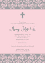 Pink Damask Religious Invitations