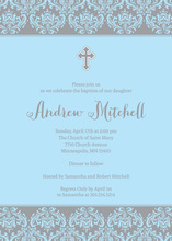 Blue Damask Religious Invitations