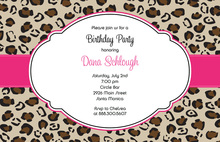 Brown Pink Band Leopard Invitations