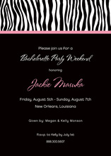Sweet Wild Zebra Pink Banded In Black Invitations