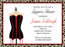 Black Red Lingerie Party Shower Invitations