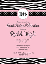 Pink Wild Dots Sweet 16 Invitations