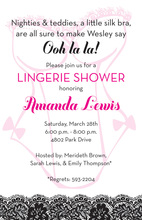 Lacy Teddy Lingerie Shower Invitations
