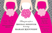 Three Pink Bouquets Bridal Shower Invitations