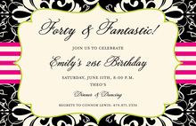 Stylish Brocade Black Digital Invitations