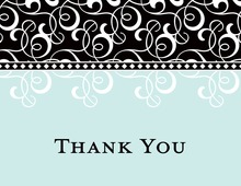 Black Blue Flourish Thank You Cards
