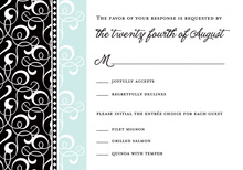 Black Blue Flourish RSVP Cards