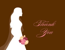 Walking Bride Brown Thank You Cards