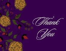 Vintage Floral In Deep Purple Thank You Cards