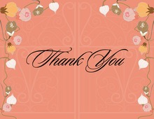 Floral Elegance In Bright Peach Thank You Cards