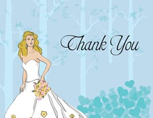 Whimsical Fairy Tale Blonde Bride Thank You Cards