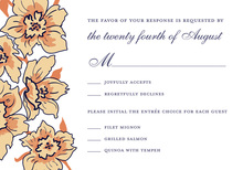 Blue Outlined Floral Soire In White RSVP Cards
