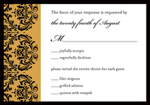 Lovely Golden Damask RSVP Cards