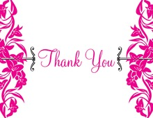 Vintage Inspired Magenta Bouquet Thank You Cards