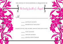 Responding With Magenta Bouquet RSVP Cards