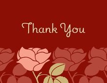 Inspired Retro Roses In Deep Red Thank You Cards