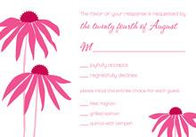 Hot Pink Leaning Daisies RSVP Cards