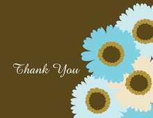 Fun Spin Blue Floral In Brown Thank You Cards