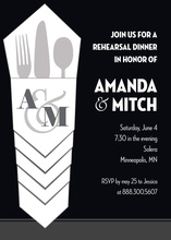 Modern Silverware Bundle Black Rehearsal Invitations
