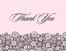 Black Floral Patterned In Pink Thank You Cards
