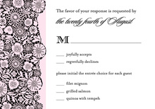 Busy Black Floral Patterned In Pink RSVP Cards