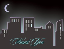 Half Moon And City Skyline Thank You Cards