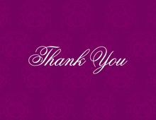 Magenta Damask Thank You Cards