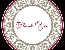 Elegant Decorative Maroon Plate Thank You Cards