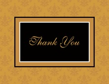 Modern Damask Gold Thank You Cards