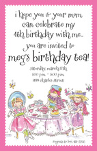 Girly Tea Party Get Together Invitations