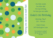 Dotty First Birthday Green Invitations