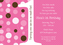 Dotty First Birthday Pink Invitations