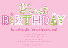 Word First Birthday Pink Invitations