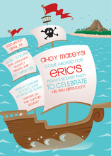 Wooden Pirate Ship Birthday Invitations